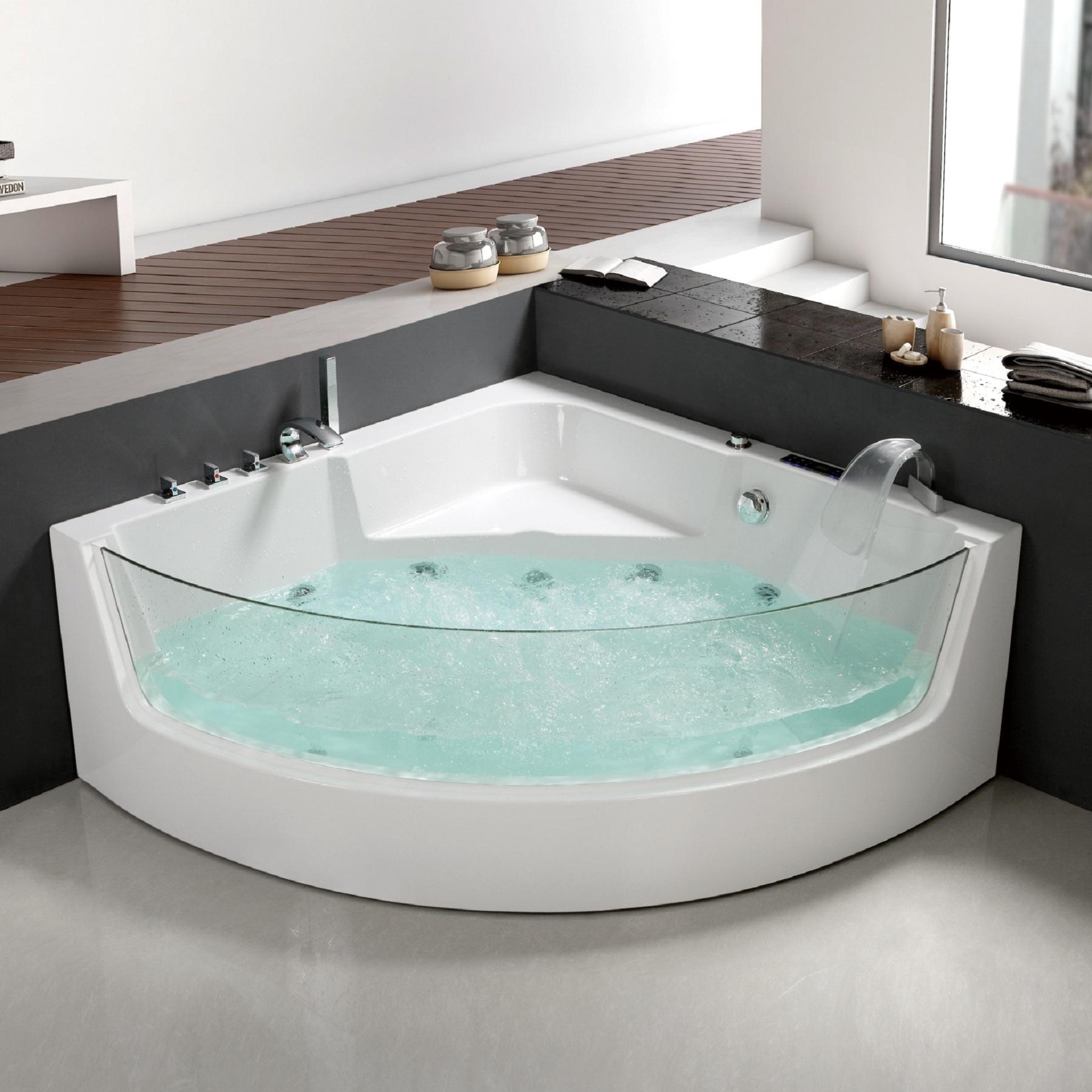 Griferia Vidrio Cascada Para Baño Diseno Elegancia: / Hidromasajes / Hidromasaje Esquinero 1500x1500mm Frente Vidrio